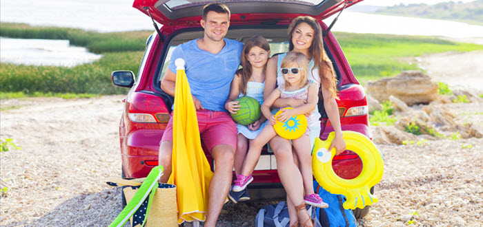Family on a Road Trip in Summer